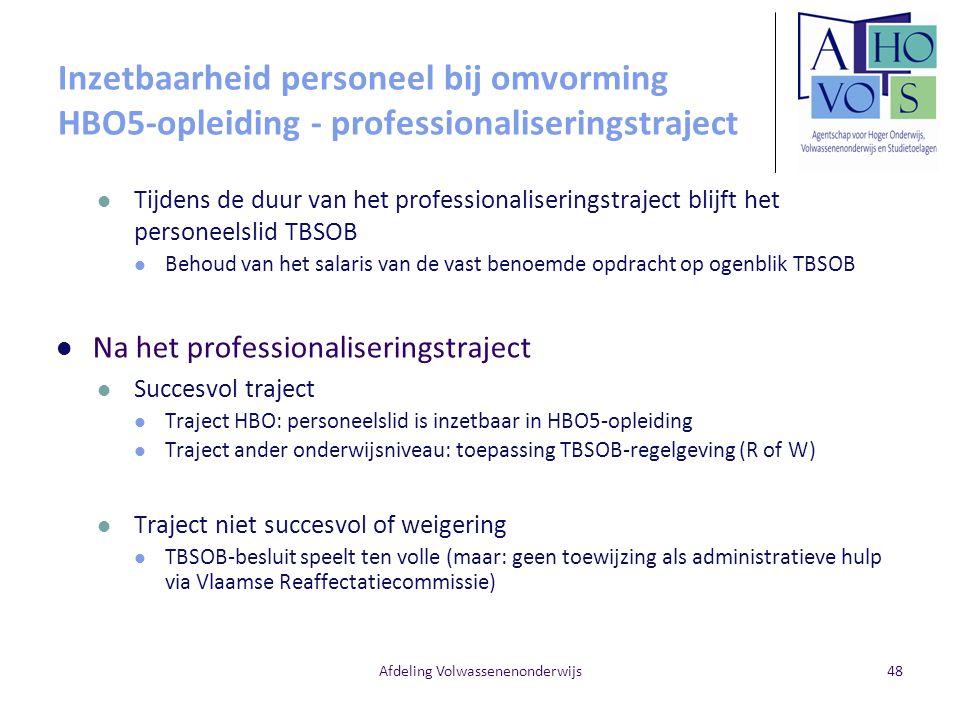 Afdeling Volwassenenonderwijs Inzetbaarheid personeel bij omvorming HBO5-opleiding - professionaliseringstraject Tijdens de duur van het professionali