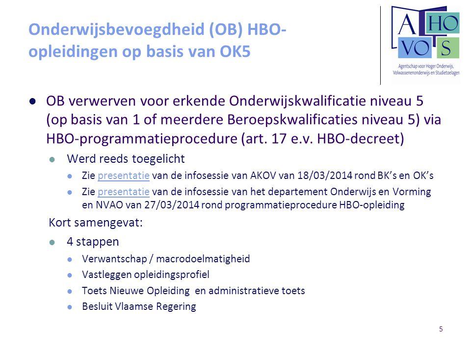 Onderwijsbevoegdheid (OB) HBO- opleidingen op basis van OK5 HBO-opleiding op basis van OK5 1 opleidingsprofiel Modules worden uitgedrukt in studiepunten en lestijden Aantal studiepunten per module is steeds een geheel getal en bevat ≥ 3stp Voor de opleiding wordt 1 inhoudelijk coördinerende instelling (HO/CVO/Sec.S) + 1 of meerdere administratief beherende instellingen (CVO('s)/Sec.S(en)) aangewezen 6