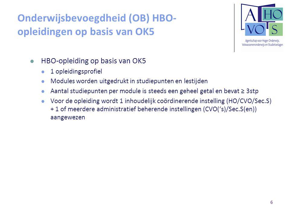 Onderwijsbevoegdheid (OB) HBO- opleidingen op basis van OK5 HBO-opleiding op basis van OK5 1 opleidingsprofiel Modules worden uitgedrukt in studiepunt