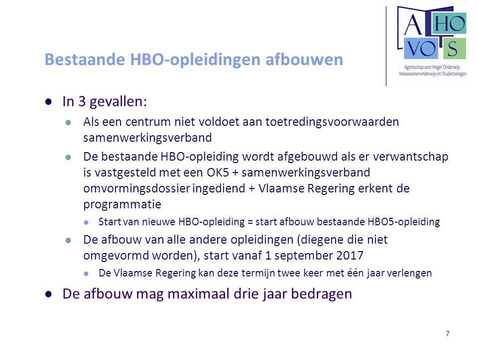 Bestaande HBO-opleidingen afbouwen In 3 gevallen: Als een centrum niet voldoet aan toetredingsvoorwaarden samenwerkingsverband De bestaande HBO-opleid