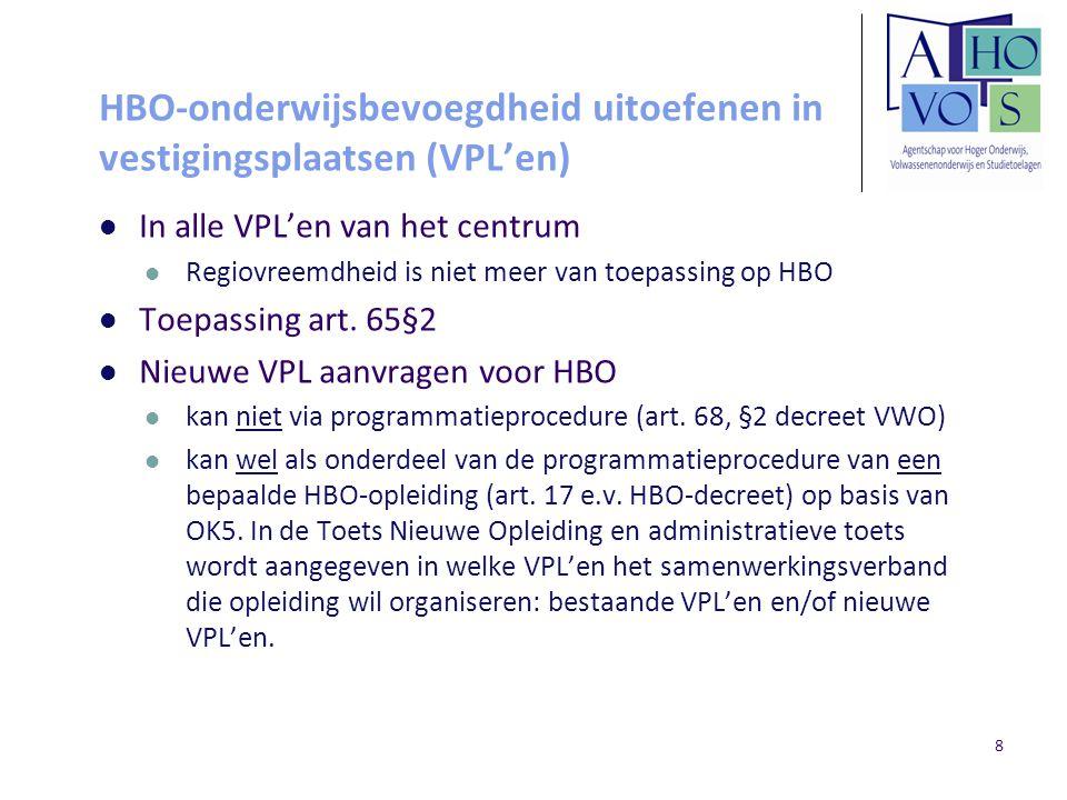 HBO-onderwijsbevoegdheid uitoefenen in vestigingsplaatsen (VPL'en) In alle VPL'en van het centrum Regiovreemdheid is niet meer van toepassing op HBO T