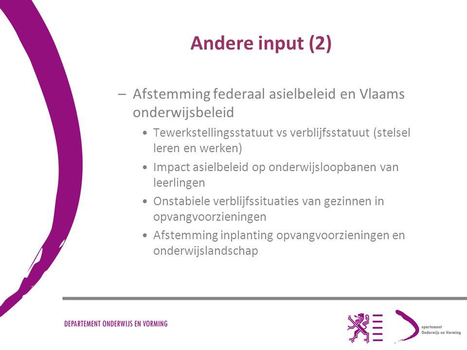 Andere input (2) –Afstemming federaal asielbeleid en Vlaams onderwijsbeleid Tewerkstellingsstatuut vs verblijfsstatuut (stelsel leren en werken) Impac