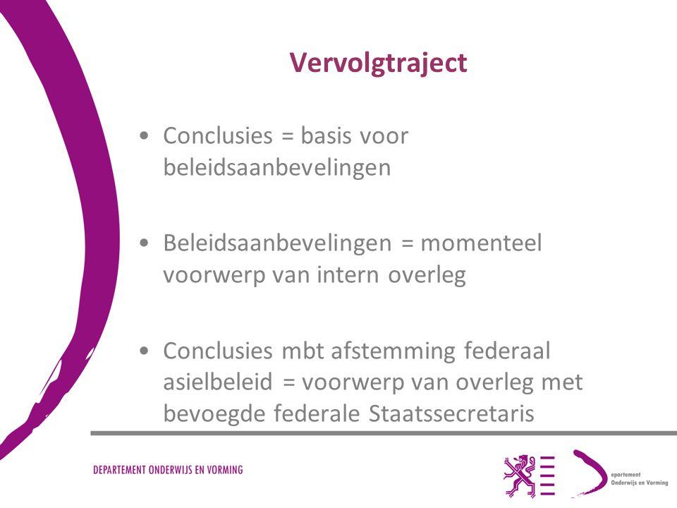 Vervolgtraject Conclusies = basis voor beleidsaanbevelingen Beleidsaanbevelingen = momenteel voorwerp van intern overleg Conclusies mbt afstemming fed