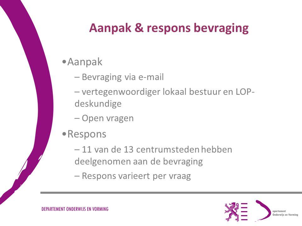 Aanpak & respons bevraging Aanpak – Bevraging via e-mail – vertegenwoordiger lokaal bestuur en LOP- deskundige – Open vragen Respons – 11 van de 13 centrumsteden hebben deelgenomen aan de bevraging – Respons varieert per vraag