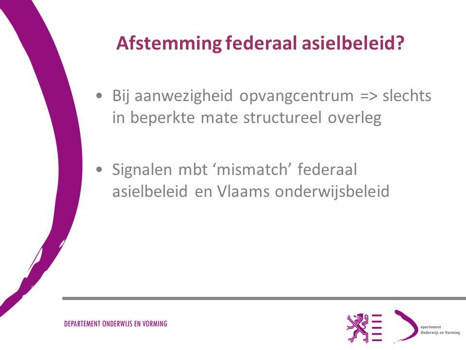 Afstemming federaal asielbeleid? Bij aanwezigheid opvangcentrum => slechts in beperkte mate structureel overleg Signalen mbt 'mismatch' federaal asiel