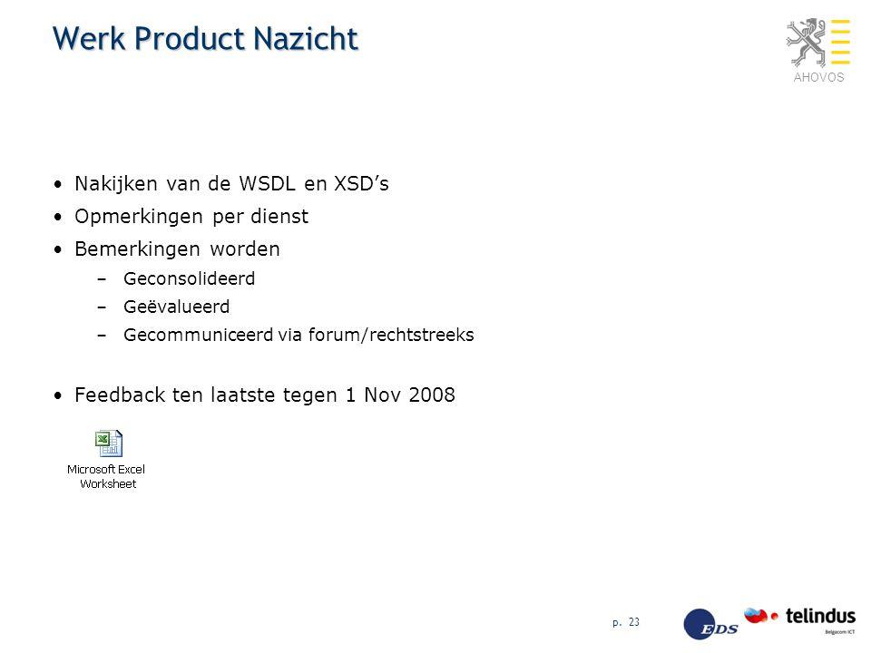 AHOVOS p. 23 Werk Product Nazicht Nakijken van de WSDL en XSD's Opmerkingen per dienst Bemerkingen worden –Geconsolideerd –Geëvalueerd –Gecommuniceerd
