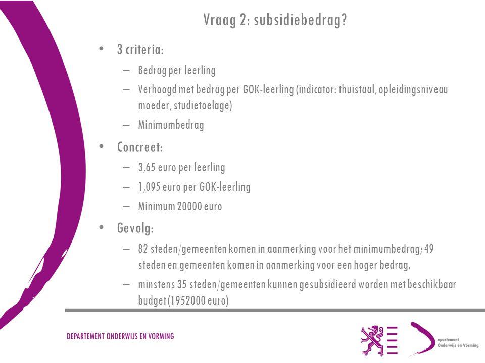 Vraag 2: subsidiebedrag? 3 criteria: –Bedrag per leerling –Verhoogd met bedrag per GOK-leerling (indicator: thuistaal, opleidingsniveau moeder, studie