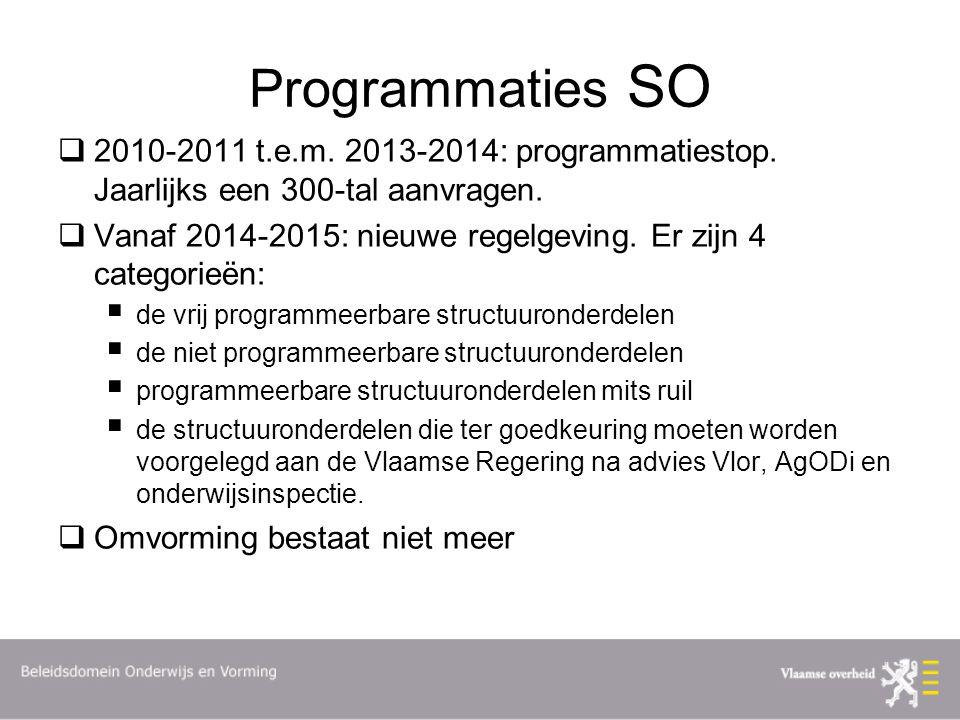 Programmaties SO  2010-2011 t.e.m. 2013-2014: programmatiestop. Jaarlijks een 300-tal aanvragen.  Vanaf 2014-2015: nieuwe regelgeving. Er zijn 4 cat