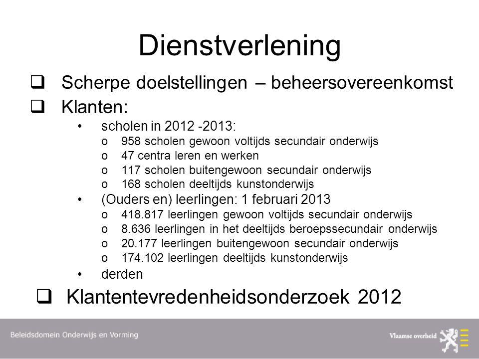 Dienstverlening  Scherpe doelstellingen – beheersovereenkomst  Klanten: scholen in 2012 -2013: o958 scholen gewoon voltijds secundair onderwijs o47
