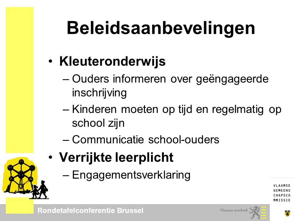 Rondetafelconferentie Brussel Beleidsaanbevelingen Kleuteronderwijs –Ouders informeren over geëngageerde inschrijving –Kinderen moeten op tijd en rege