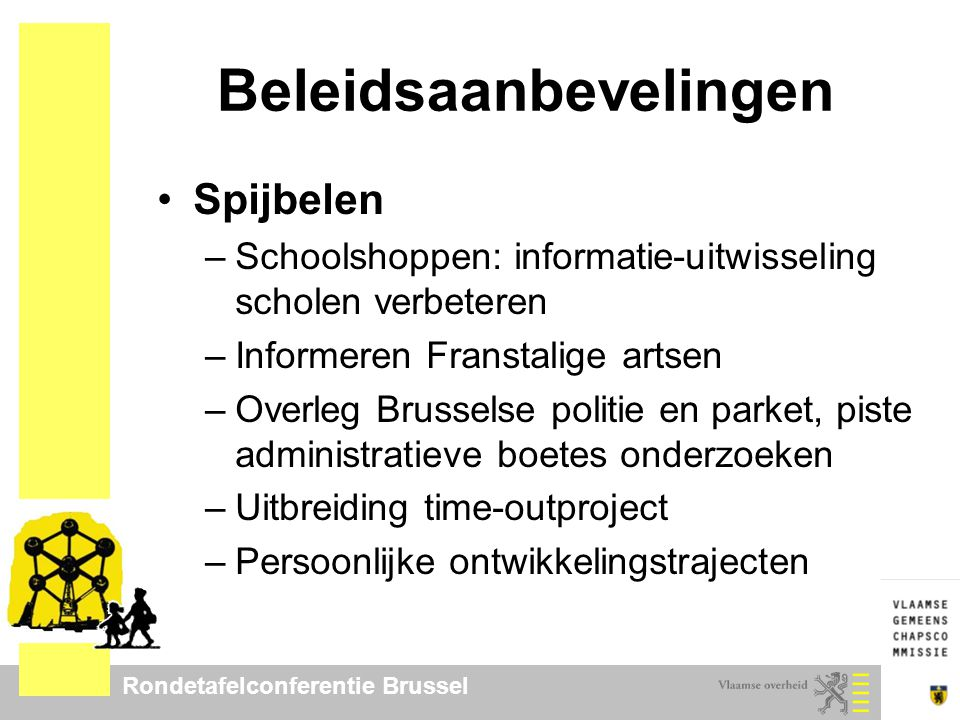 Rondetafelconferentie Brussel Beleidsaanbevelingen Spijbelen –Schoolshoppen: informatie-uitwisseling scholen verbeteren –Informeren Franstalige artsen