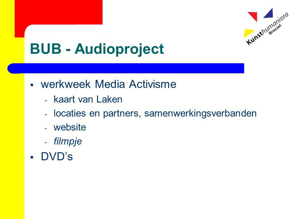 BUB - Audioproject  werkweek Media Activisme - kaart van Laken - locaties en partners, samenwerkingsverbanden - website - filmpje  DVD's