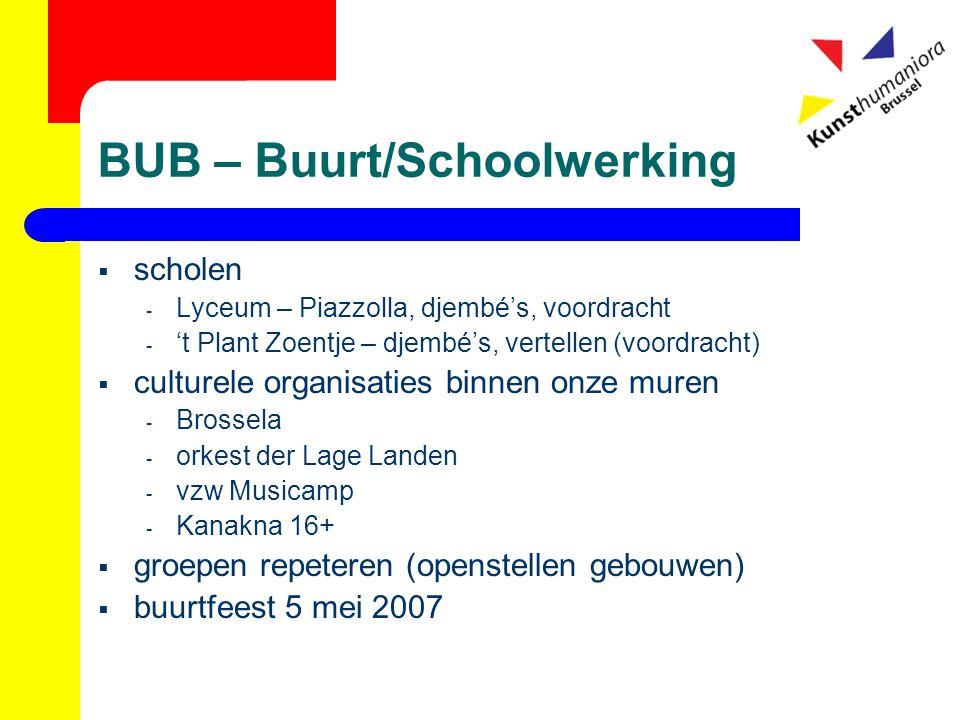 BUB – Buurt/Schoolwerking  scholen - Lyceum – Piazzolla, djembé's, voordracht - 't Plant Zoentje – djembé's, vertellen (voordracht)  culturele organ