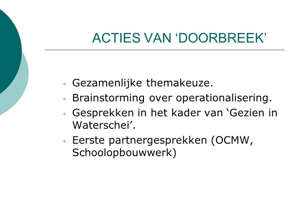 ACTIES VAN 'DOORBREEK' Gezamenlijke themakeuze. Brainstorming over operationalisering. Gesprekken in het kader van 'Gezien in Waterschei'. Eerste part