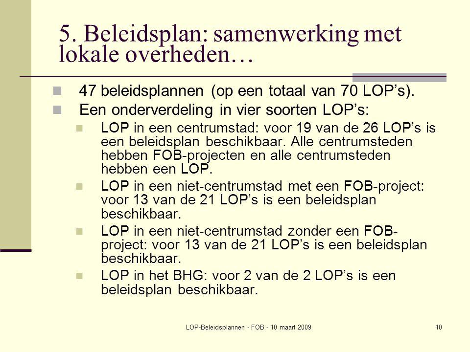 LOP-Beleidsplannen - FOB - 10 maart 200910 5. Beleidsplan: samenwerking met lokale overheden… 47 beleidsplannen (op een totaal van 70 LOP's). Een onde
