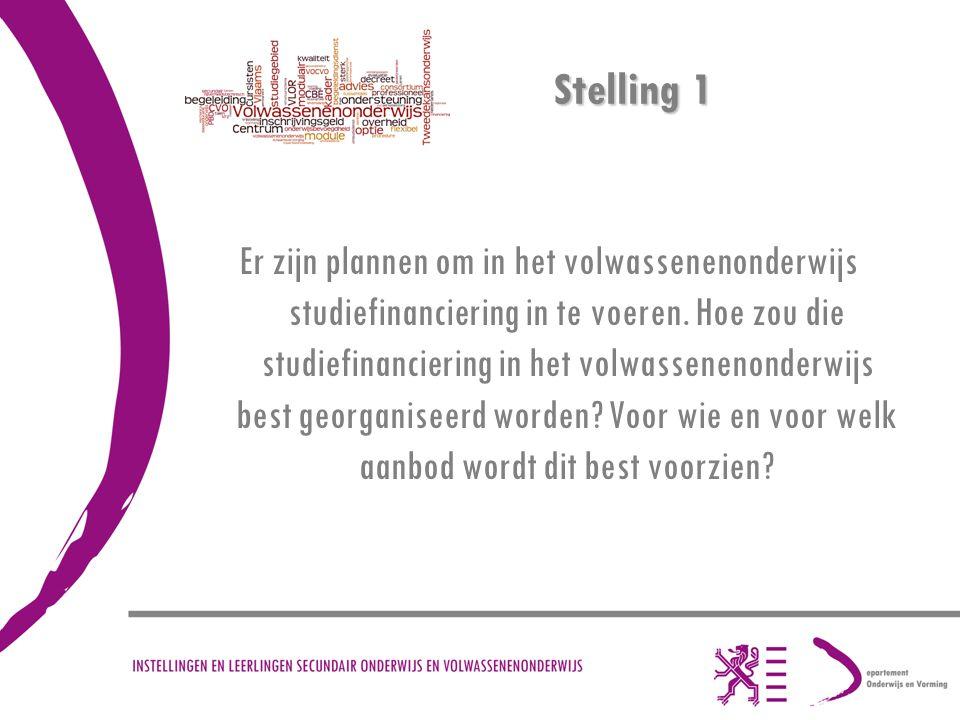 Stelling 1 Er zijn plannen om in het volwassenenonderwijs studiefinanciering in te voeren.