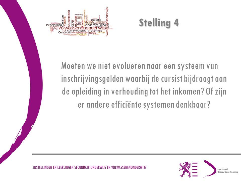Stelling 4 Moeten we niet evolueren naar een systeem van inschrijvingsgelden waarbij de cursist bijdraagt aan de opleiding in verhouding tot het inkomen.