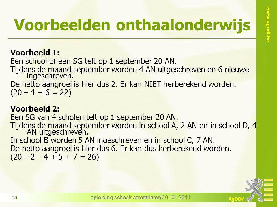 www.agodi.be AgODi opleiding schoolsecretariaten 2010 - 2011 21 Voorbeelden onthaalonderwijs Voorbeeld 1: Een school of een SG telt op 1 september 20