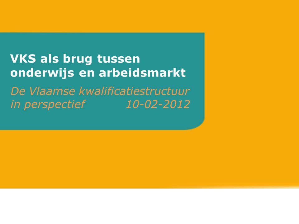 VKS als brug tussen onderwijs en arbeidsmarkt De Vlaamse kwalificatiestructuur in perspectief 10-02-2012