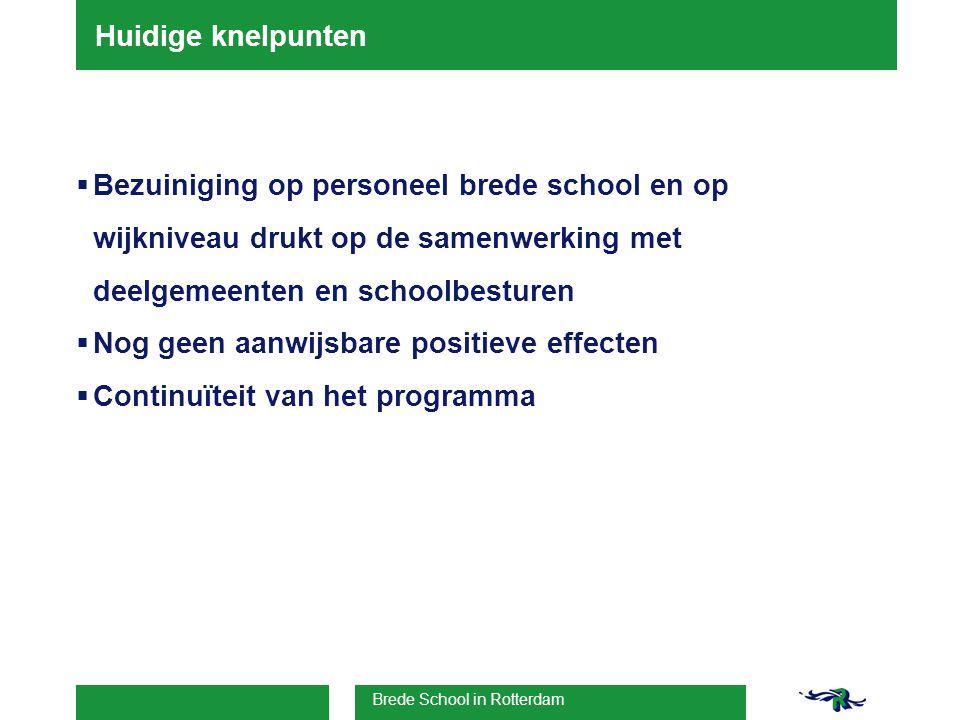 Brede School in Rotterdam Huidige knelpunten  Bezuiniging op personeel brede school en op wijkniveau drukt op de samenwerking met deelgemeenten en schoolbesturen  Nog geen aanwijsbare positieve effecten  Continuïteit van het programma