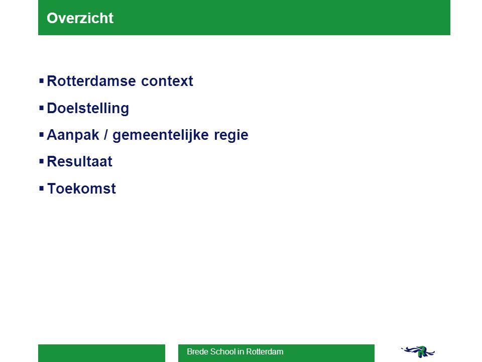 Brede School in Rotterdam Overzicht  Rotterdamse context  Doelstelling  Aanpak / gemeentelijke regie  Resultaat  Toekomst