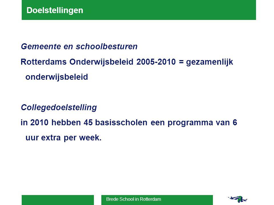 Brede School in Rotterdam Doelstellingen Gemeente en schoolbesturen Rotterdams Onderwijsbeleid 2005-2010 = gezamenlijk onderwijsbeleid Collegedoelstelling in 2010 hebben 45 basisscholen een programma van 6 uur extra per week.