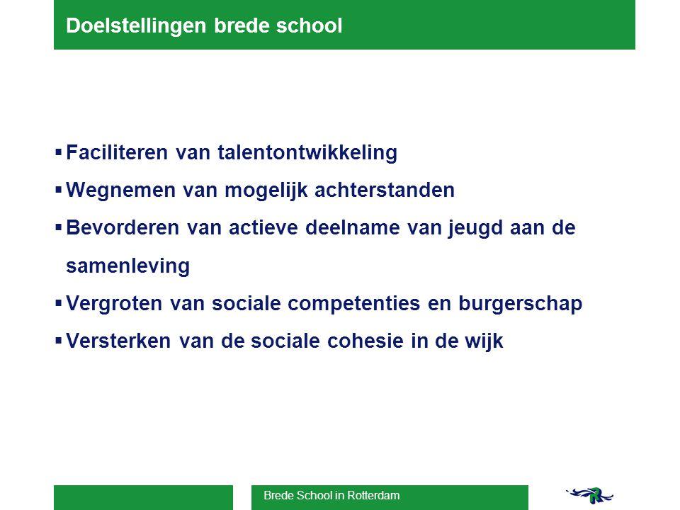 Brede School in Rotterdam Doelstellingen brede school  Faciliteren van talentontwikkeling  Wegnemen van mogelijk achterstanden  Bevorderen van actieve deelname van jeugd aan de samenleving  Vergroten van sociale competenties en burgerschap  Versterken van de sociale cohesie in de wijk