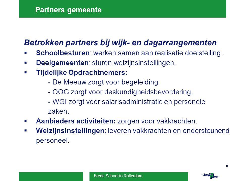 Brede School in Rotterdam 8 Partners gemeente Betrokken partners bij wijk- en dagarrangementen  Schoolbesturen: werken samen aan realisatie doelstelling.