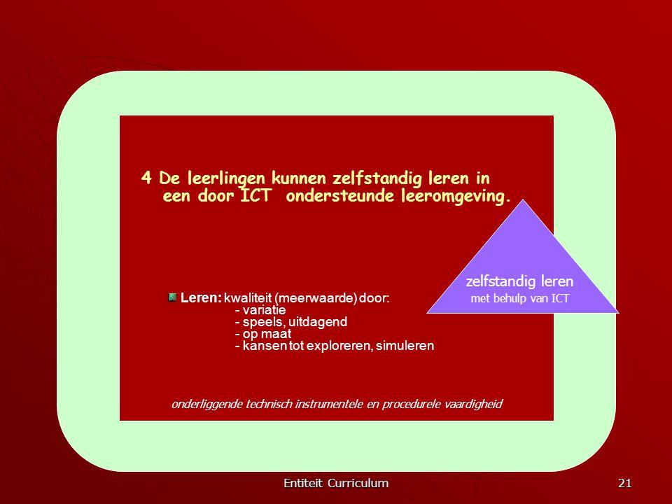 Entiteit Curriculum 21 onderliggende technisch instrumentele en procedurele vaardigheid zelfstandig leren met behulp van ICT 4 De leerlingen kunnen ze