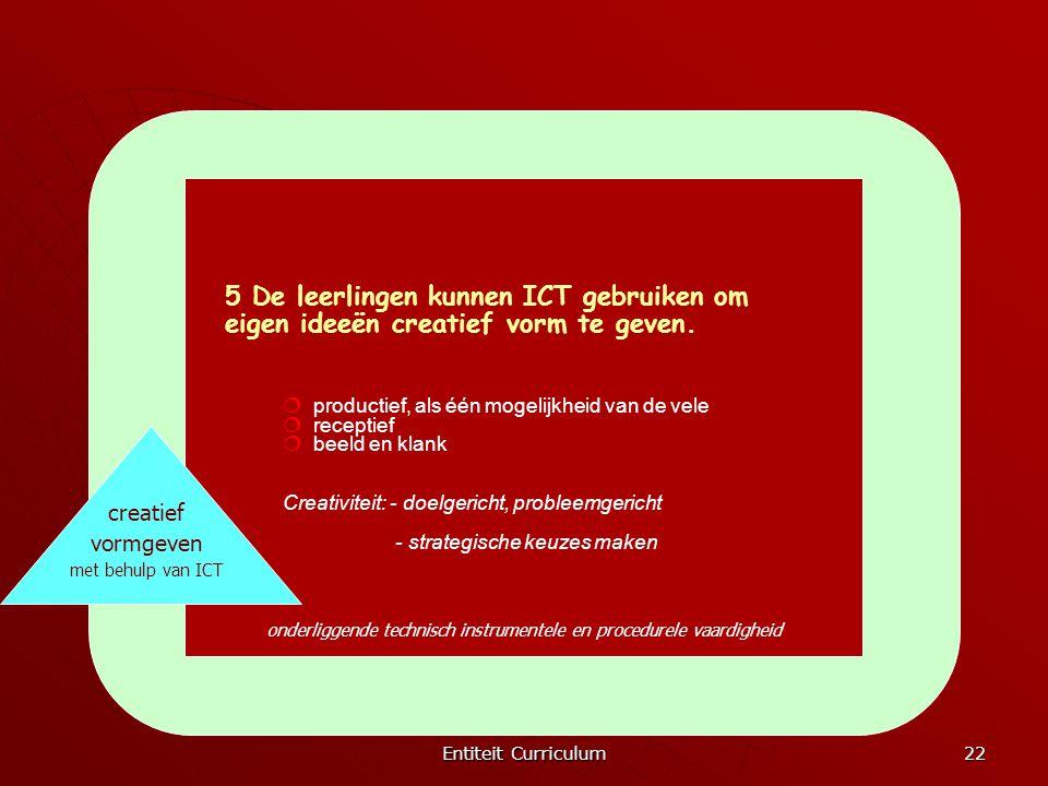 Entiteit Curriculum 22 creatief vormgeven met behulp van ICT 5 De leerlingen kunnen ICT gebruiken om eigen ideeën creatief vorm te geven.  productief