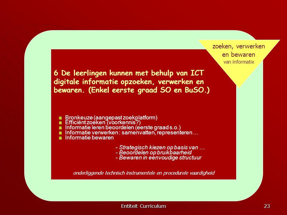 Entiteit Curriculum 23 zoeken, verwerken en bewaren van informatie 6 De leerlingen kunnen met behulp van ICT digitale informatie opzoeken, verwerken e