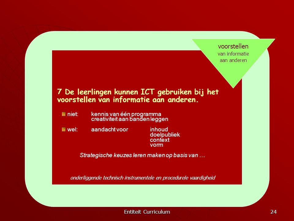 Entiteit Curriculum 24 voorstellen van informatie aan anderen 7 De leerlingen kunnen ICT gebruiken bij het voorstellen van informatie aan anderen. nie