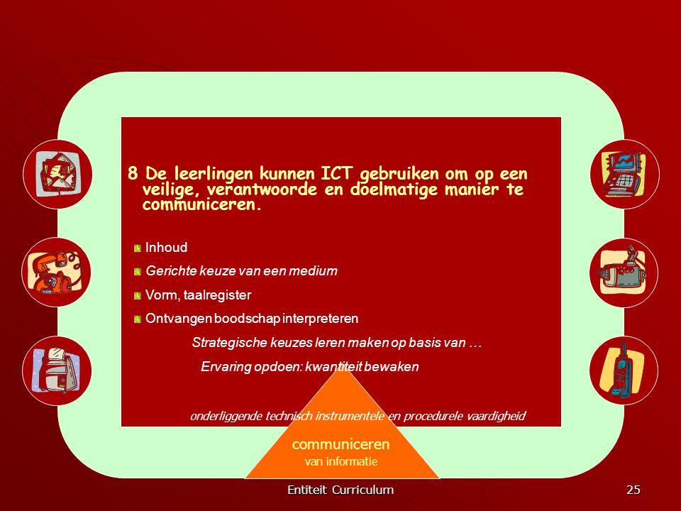 Entiteit Curriculum 25 communiceren van informatie 8 De leerlingen kunnen ICT gebruiken om op een veilige, verantwoorde en doelmatige manier te commun