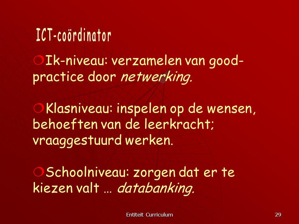 Entiteit Curriculum 29  Ik-niveau: verzamelen van good- practice door netwerking.  Klasniveau: inspelen op de wensen, behoeften van de leerkracht; v