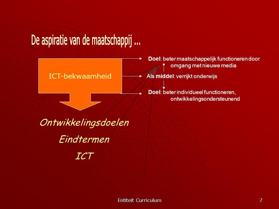 Entiteit Curriculum 7 ICT-bekwaamheid Doel: beter maatschappelijk functioneren door omgang met nieuwe media Als middel: verrijkt onderwijs Doel: beter