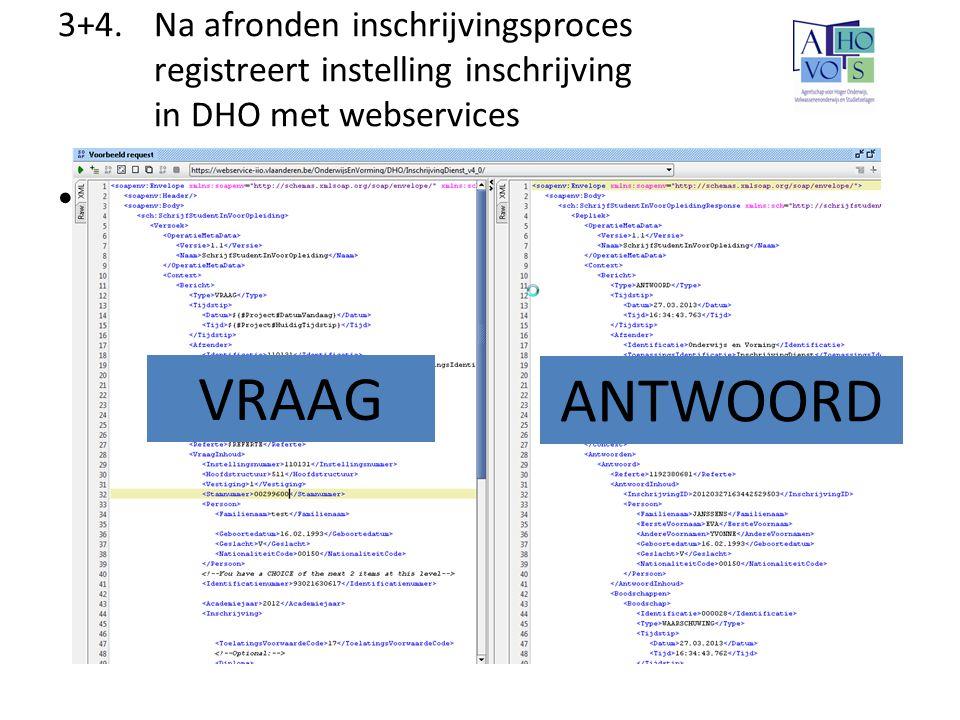 3+4.Na afronden inschrijvingsproces registreert instelling inschrijving in DHO met webservices SOAP UI VRAAG ANTWOORD