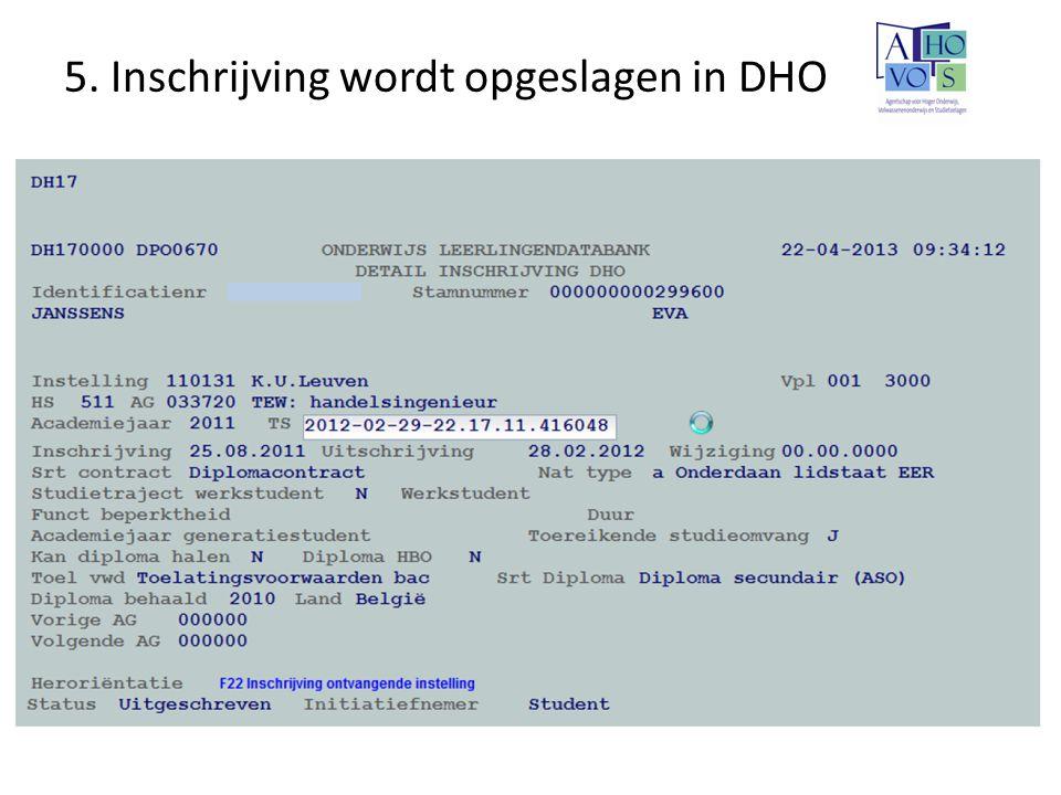 5. Inschrijving wordt opgeslagen in DHO