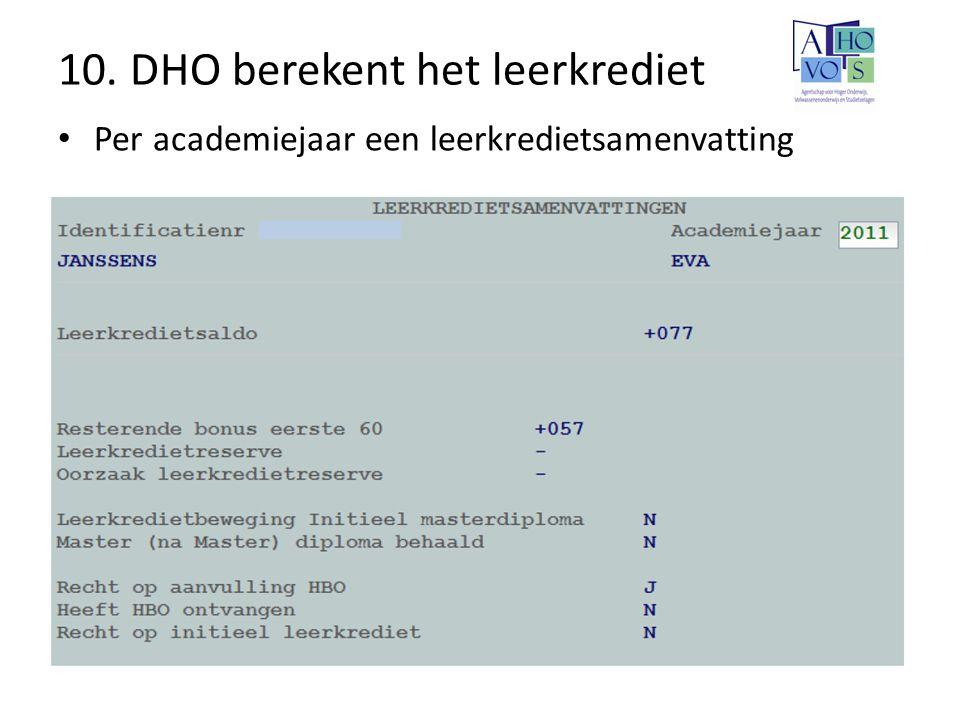 10. DHO berekent het leerkrediet Per academiejaar een leerkredietsamenvatting