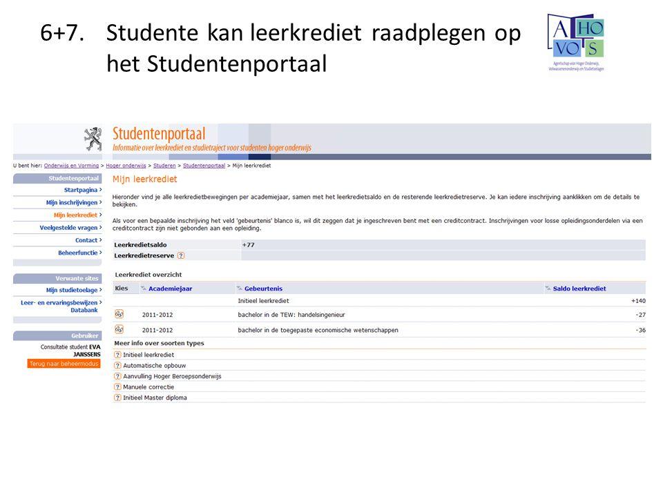 6+7.Studente kan leerkrediet raadplegen op het Studentenportaal
