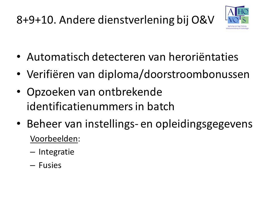 8+9+10. Andere dienstverlening bij O&V Automatisch detecteren van heroriëntaties Verifiëren van diploma/doorstroombonussen Opzoeken van ontbrekende id