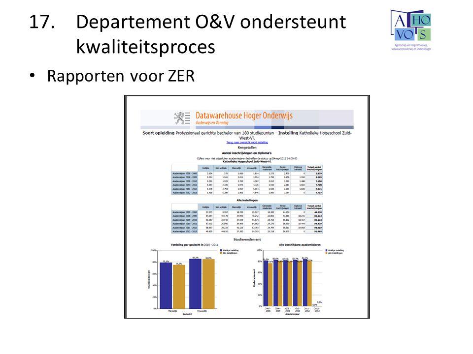 17. Departement O&V ondersteunt kwaliteitsproces Rapporten voor ZER