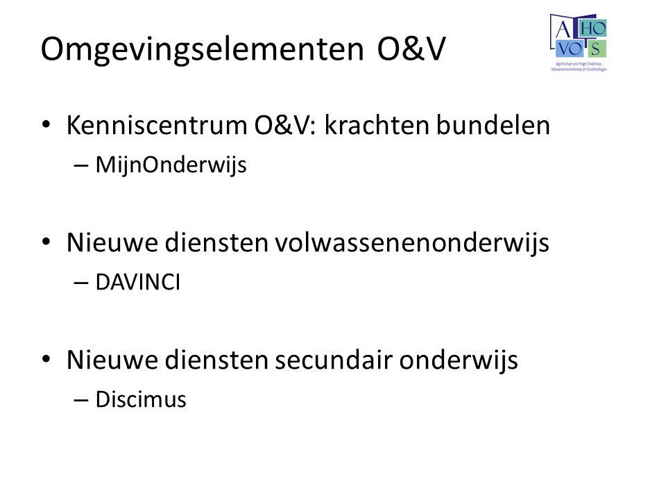 Omgevingselementen O&V Kenniscentrum O&V: krachten bundelen – MijnOnderwijs Nieuwe diensten volwassenenonderwijs – DAVINCI Nieuwe diensten secundair o