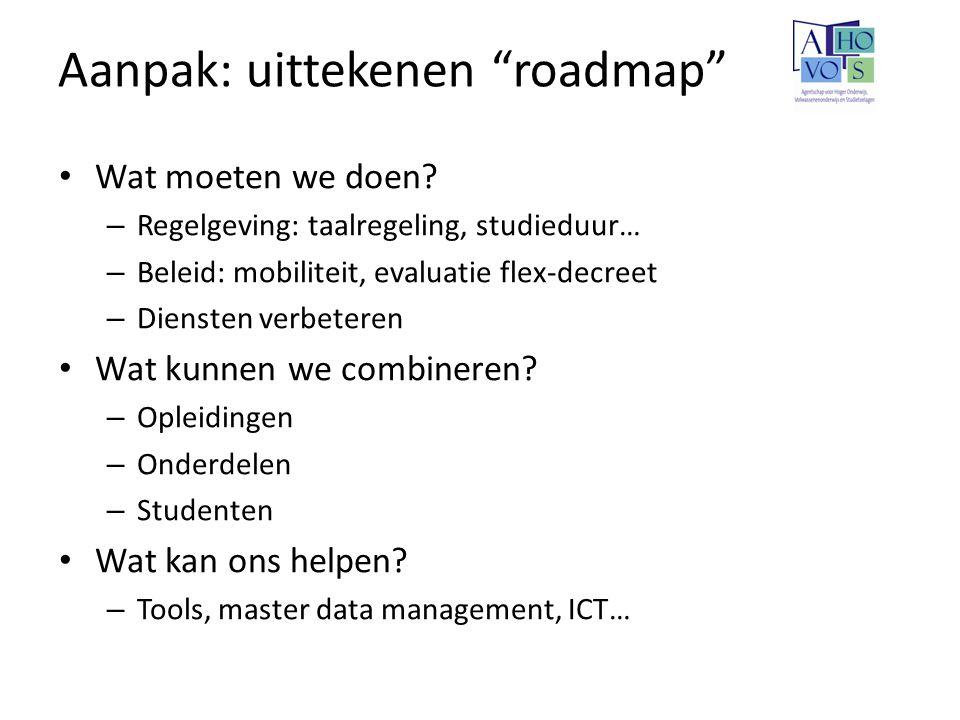 """Aanpak: uittekenen """"roadmap"""" Wat moeten we doen? – Regelgeving: taalregeling, studieduur… – Beleid: mobiliteit, evaluatie flex-decreet – Diensten verb"""