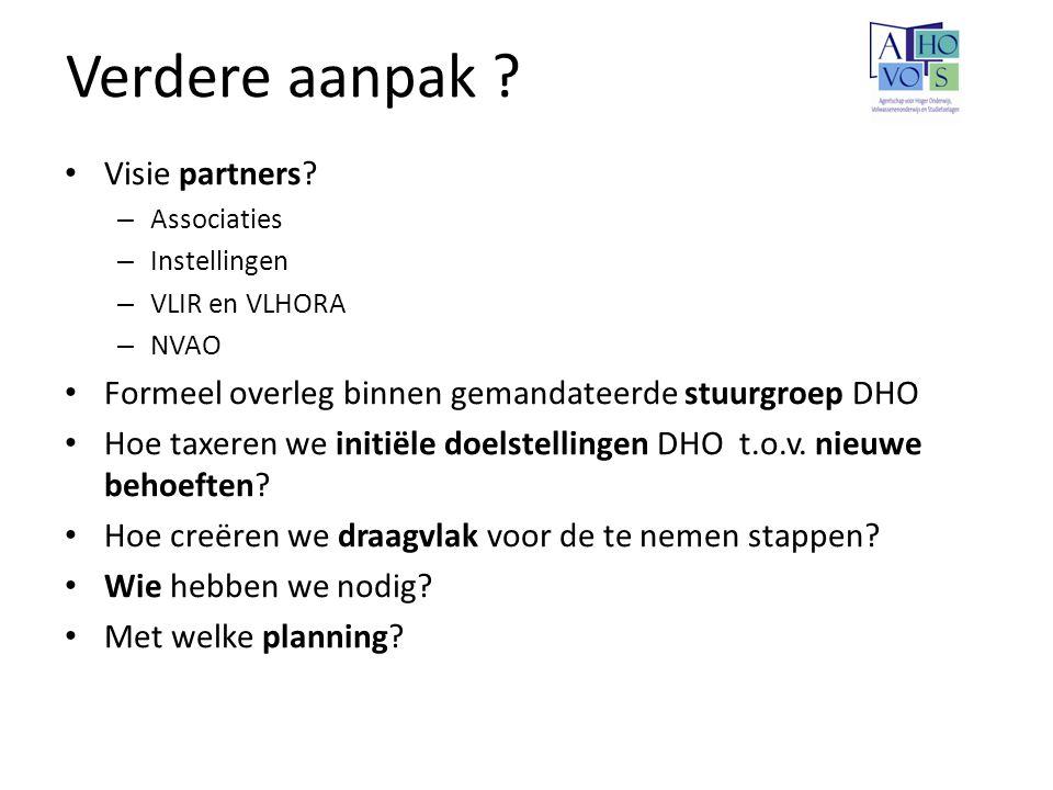 Verdere aanpak ? Visie partners? – Associaties – Instellingen – VLIR en VLHORA – NVAO Formeel overleg binnen gemandateerde stuurgroep DHO Hoe taxeren