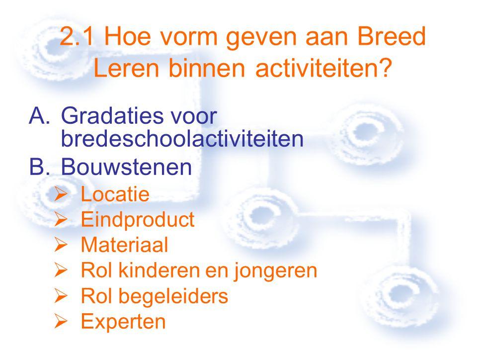 2.Hoe Brede School inhoudelijk vorm geven. 2.1 Hoe vorm geven aan Breed Leren binnen activiteiten.