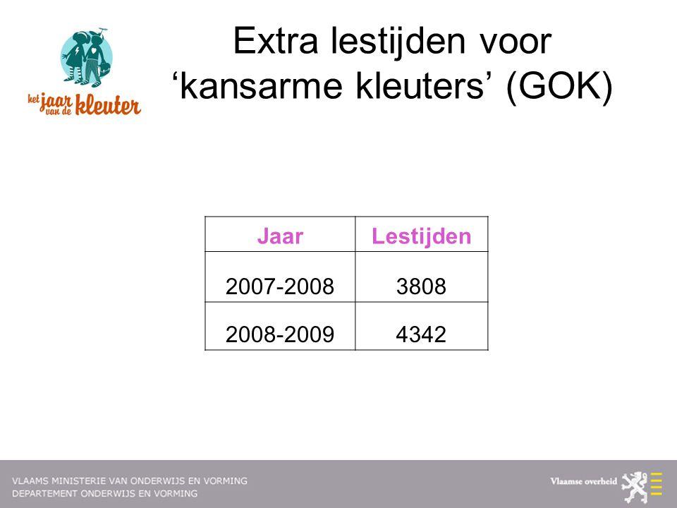 Extra lestijden voor 'kansarme kleuters' (GOK) JaarLestijden 2007-20083808 2008-20094342
