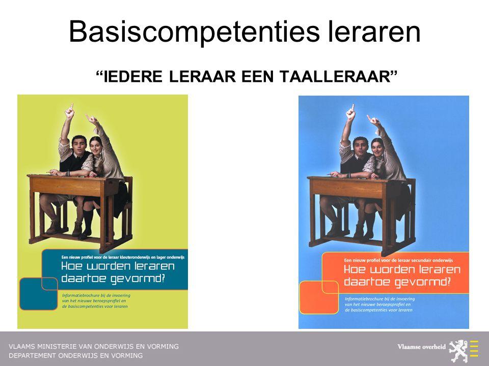 Basiscompetenties leraren IEDERE LERAAR EEN TAALLERAAR
