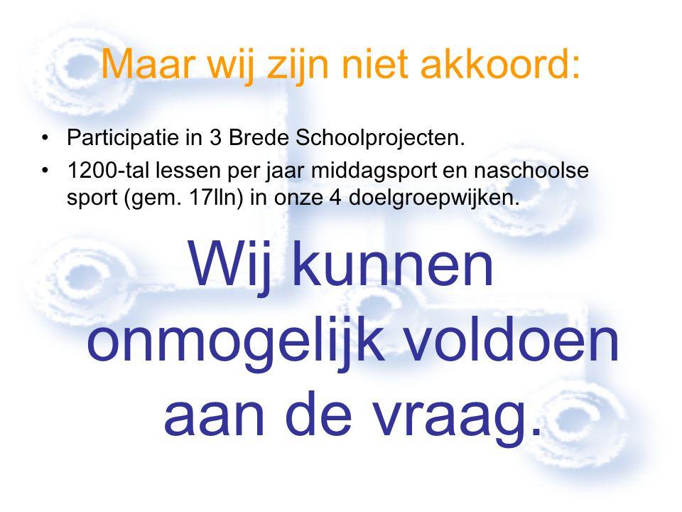 Maar wij zijn niet akkoord: Participatie in 3 Brede Schoolprojecten. 1200-tal lessen per jaar middagsport en naschoolse sport (gem. 17lln) in onze 4 d