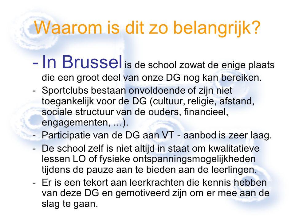 Waarom is dit zo belangrijk? -In Brussel is de school zowat de enige plaats die een groot deel van onze DG nog kan bereiken. -Sportclubs bestaan onvol