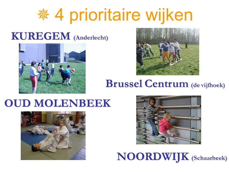 KUREGEM (Anderlecht) NOORDWIJK (Schaarbeek) OUD MOLENBEEK Brussel Centrum (de vijfhoek)  4 prioritaire wijken